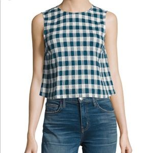 NWT Current & Elliott Blue Plaid Boxy Tank $168
